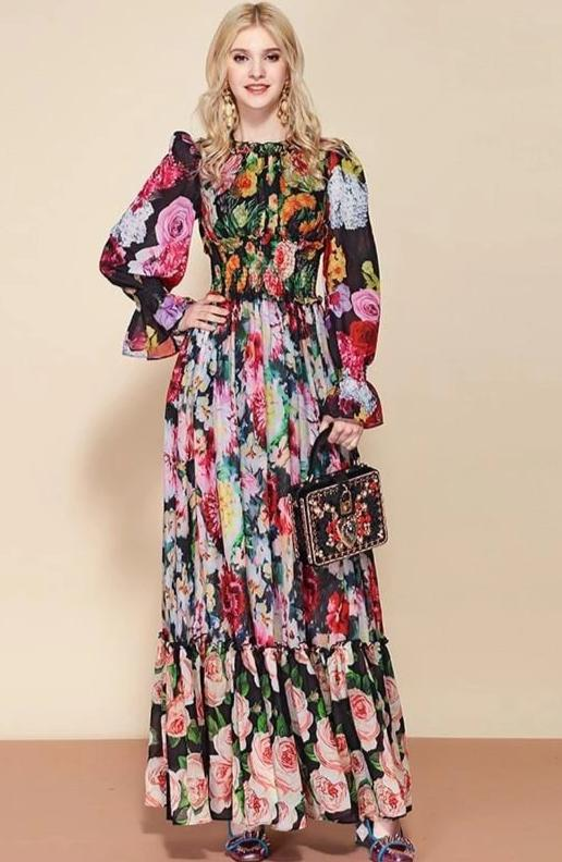 Floral Print Long Sleeve Elegant Maxi Dress