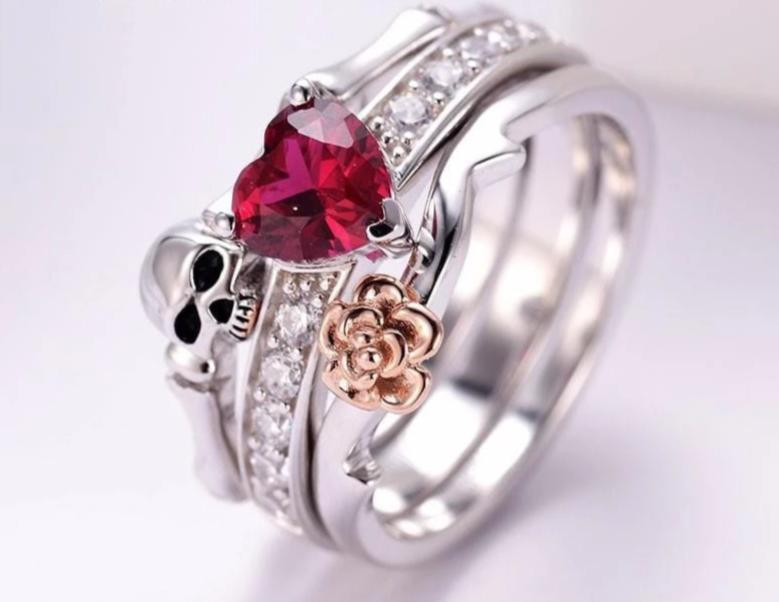 Crystal Red Heart Rose Flower Silver Wedding Rings