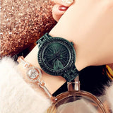 Steel Belt Waterproof Rotating Multi-Encrusted Watch Green