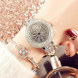 Steel Belt Waterproof Rotating Multi-Encrusted Watch Silver