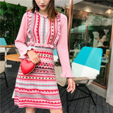 Flare Sleeve Rainbow Striped Knitting Stylish Dress
