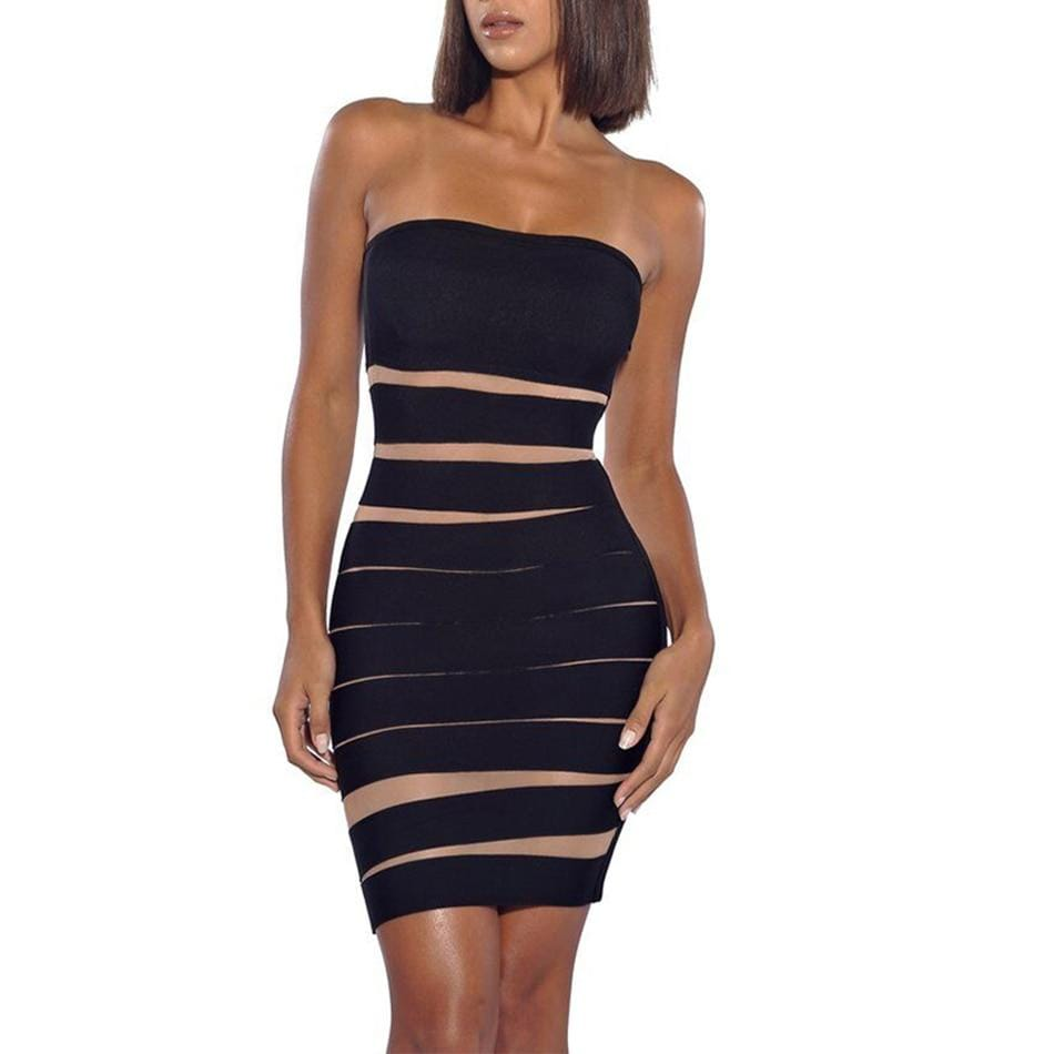 New Strapless Black Bandage Bodycon Dress