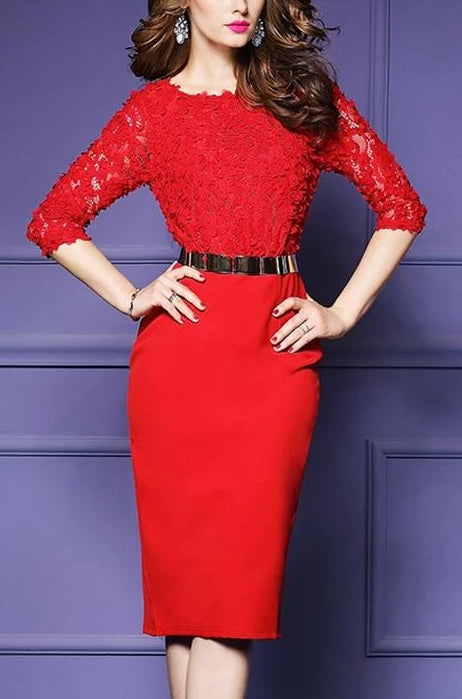 Vintage Elegant Sweet Lace Pencil Dress Red