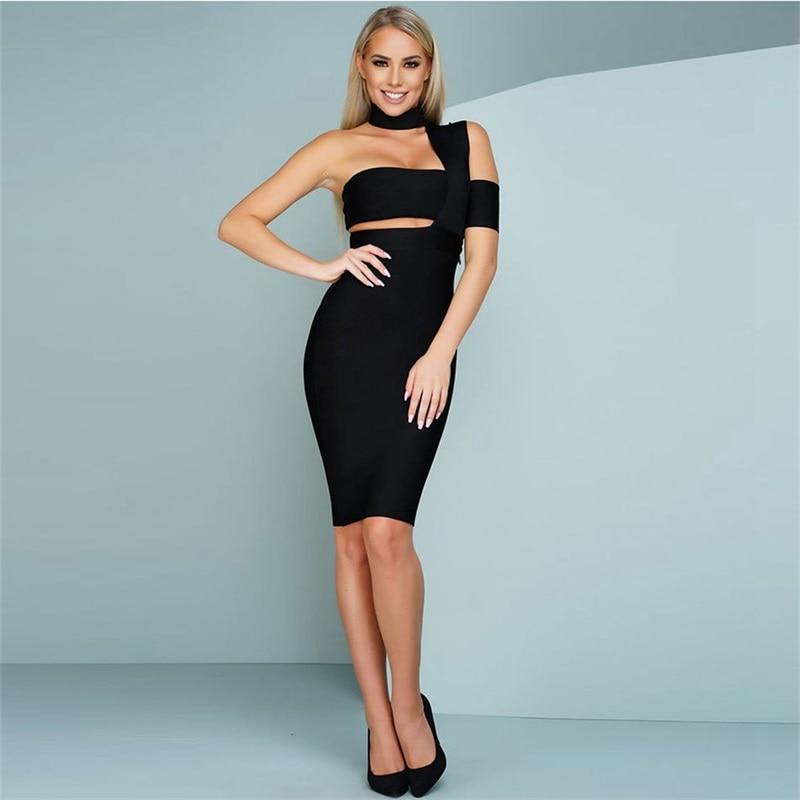 One-Shoulder Cutout Elegant BodyCon Dress Black