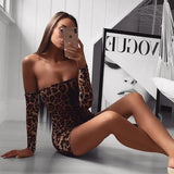 Off Shoulder Leopard Print Sexy Mini Dress