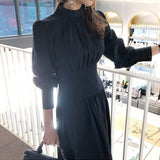Elegant Lantern Sleeve Stand Collar Party Dress