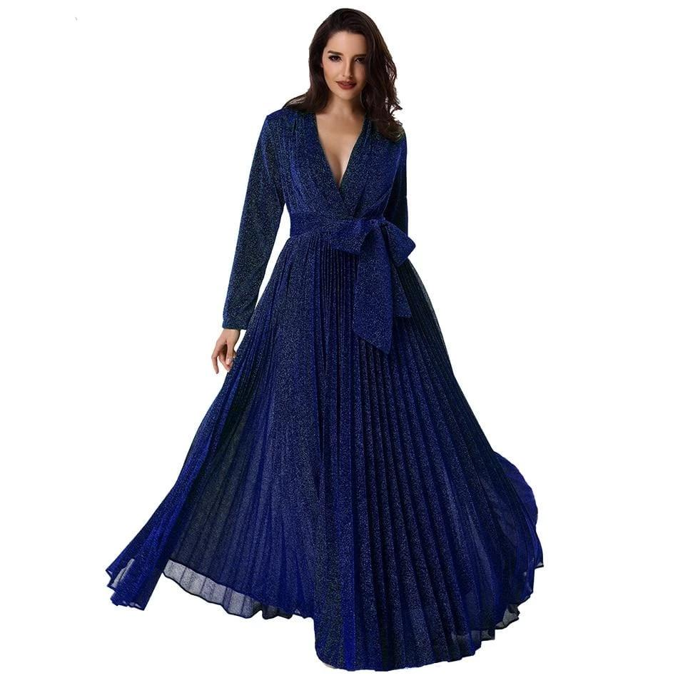 Deep V Neck Gold Long Pleated Party Dress Blue
