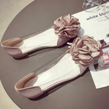 Flower Sweet Flat Heel Loafers Shoes Gray