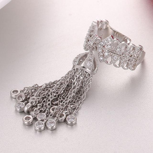 Luxury Brand Adjustable Tassel Rings