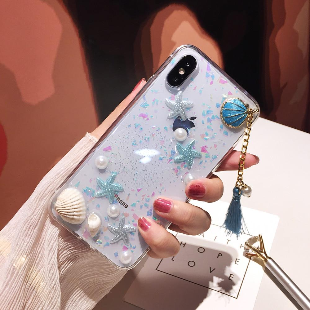 3D Pearls Tassels Soft Silicon iPhone Case