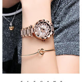 Luxury Diamond Stainless Steel Gold Women Watch Rose Gold Heart Dial