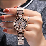 Luxury Diamond Stainless Steel Gold Women Watch