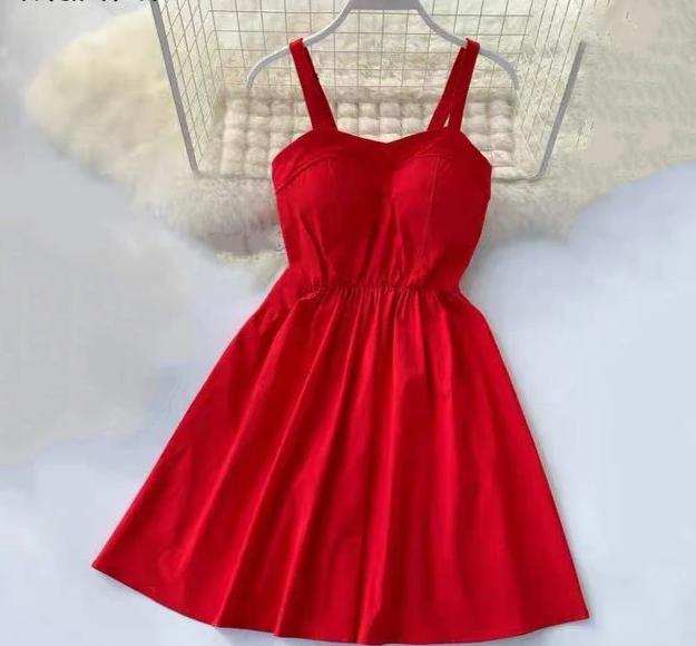 New Strapless Solid Knee-Length Party Dress Red