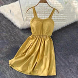New Strapless Solid Knee-Length Party Dress Yellow