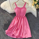 New Strapless Solid Knee-Length Party Dress Rose Red