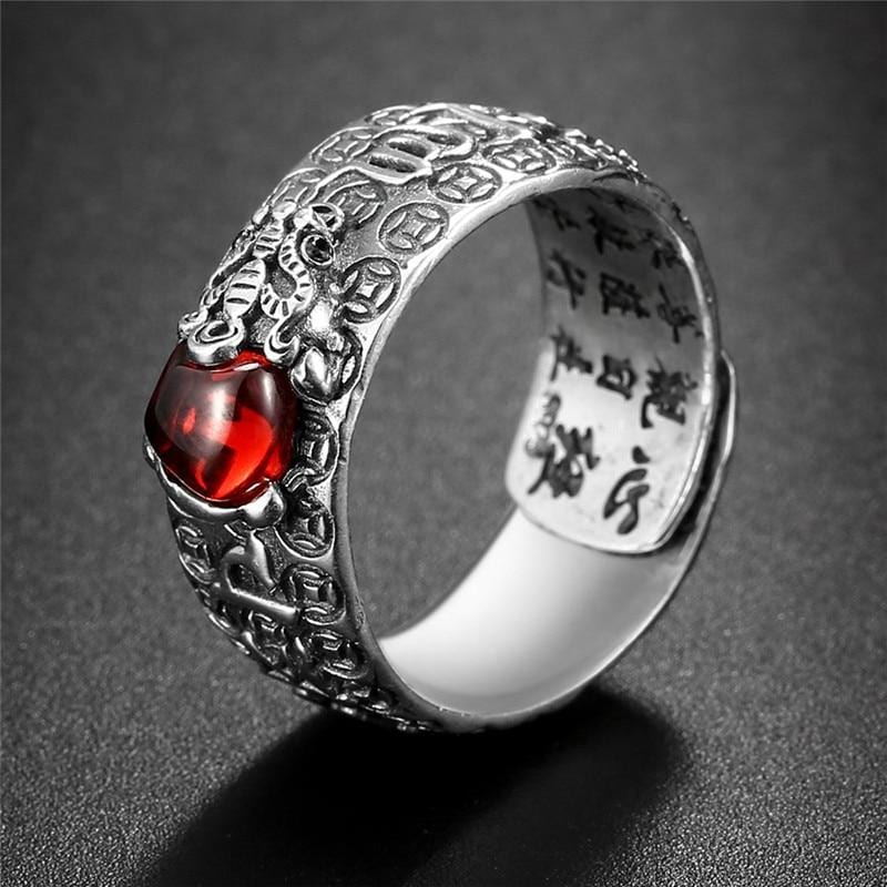 Red Garnet Stone Sterling Silver Ring