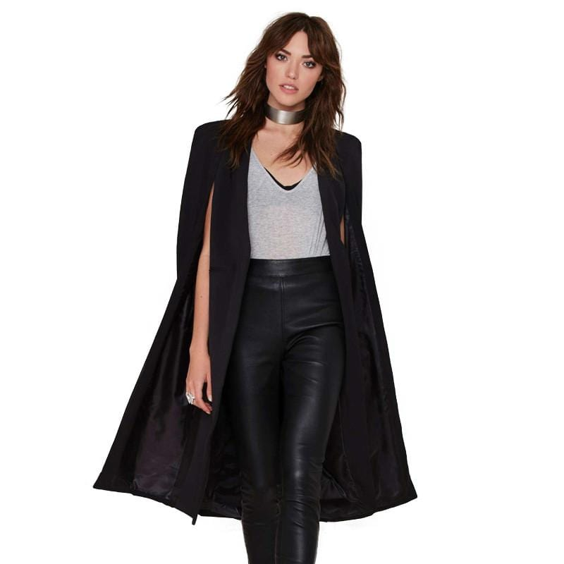 Cloak Trench Poncho Coat Black