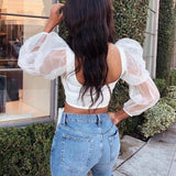 Patchwork Puff Sleeve Casual Short Tops