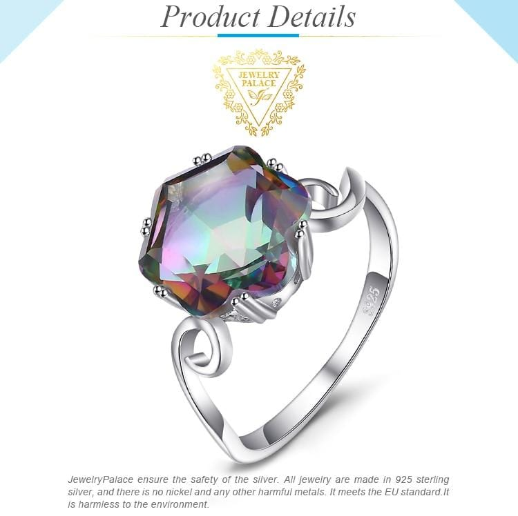 Rainbow Mystic Topaz Silver Women Ring