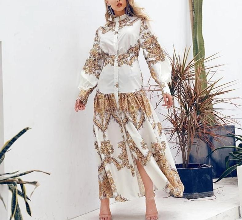 Boho White Paisley Print Long Casual Dress