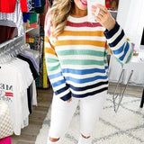 Multicolor Stripe Loose Long Sleeves Casual Sweater