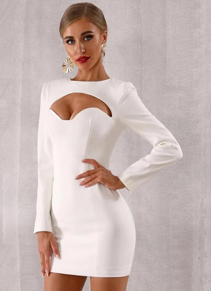 2019 Sexy Long Sleeve Bodycon Dress White