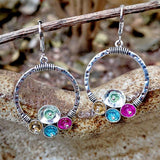 Vintage Rainbow Hollow Circle Hanging Ethnic Earrings