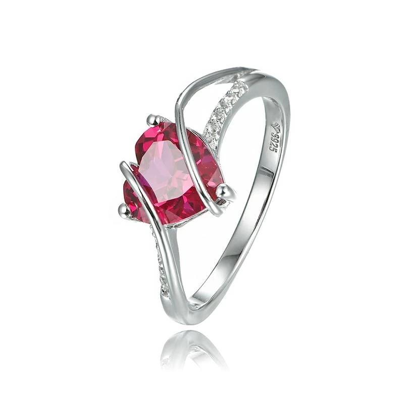 Fashion Created Ruby Sterling Silver Wedding Ring