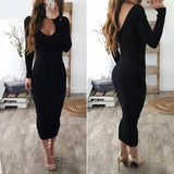 Off-Shoulder Long Sleeve Midi Bodycon Dress