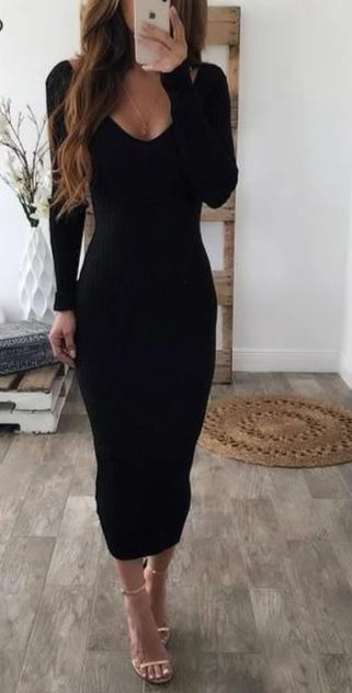 Off Shoulder Long Sleeve Midi Bodycon Dress Black