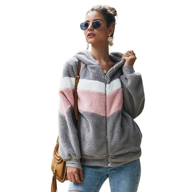 Striped Patchwork Hoodie Women Jacket Gray