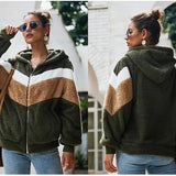 Striped Patchwork Hoodie Women Jacket