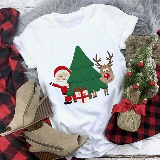 Santa Reindeer Christmas T-shirt Top