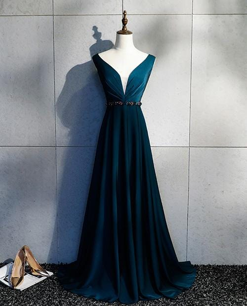 Sexy Deep V Neck Open Back Long Evening Dress Dark Green