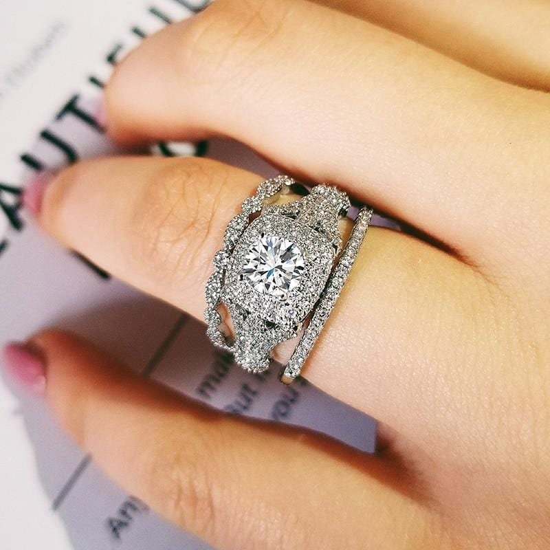 New Luxury Halo Silver Women Rings