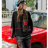 Fashion Korean Streetwear Patchwork Denim Top