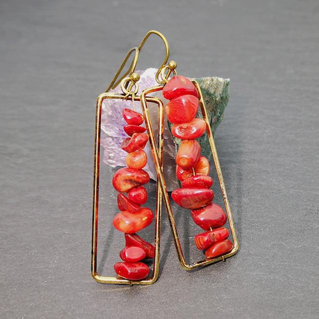 Fashion Colorful Natural Stone Long Earrings