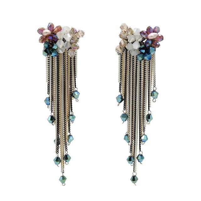 Bohomian Long Crystal Tassel Earrings