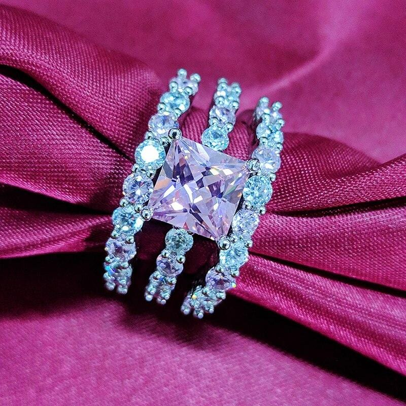 New Luxury Pink Silver Wedding Rings
