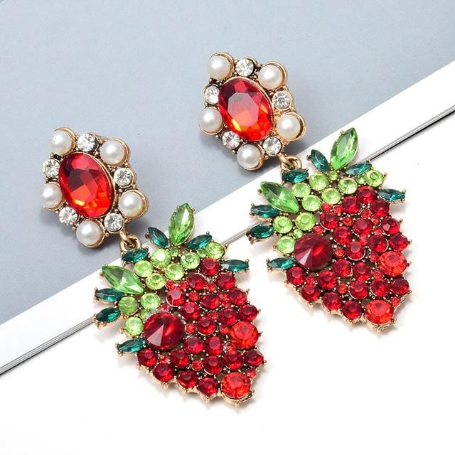 Hanging Strawberry Colorful Crystal Dangle Drop Earrings