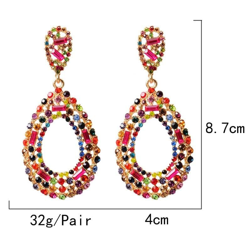 Hollow-Out Studded Colorful Drop Earrings