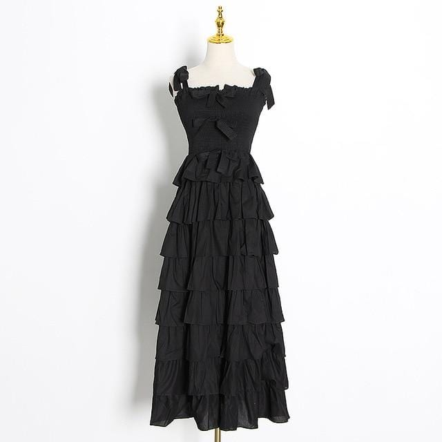 Spaghetti Strap High Waist Bow Dress