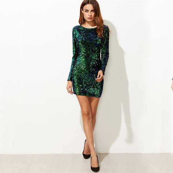9bc2a5b8c66b Iridescent Sequin Party Dress