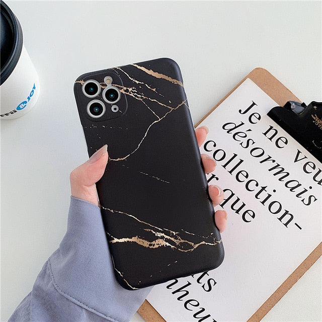 Ottwn Luxury Marble Texture Stone Phone Case For iPhone 11 11Pro Max X XR XS Max 7 8 Plus SE 2020 Soft IMD Silicone Back Cover