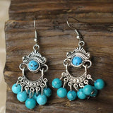 Tibetan Silver Handmade Vintage Beaded Earrings