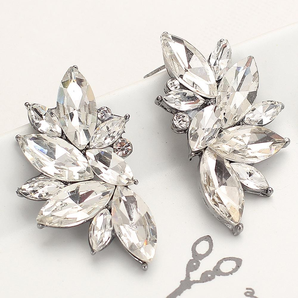 Rhinestone Glass Metal With Gems Stud Earrings