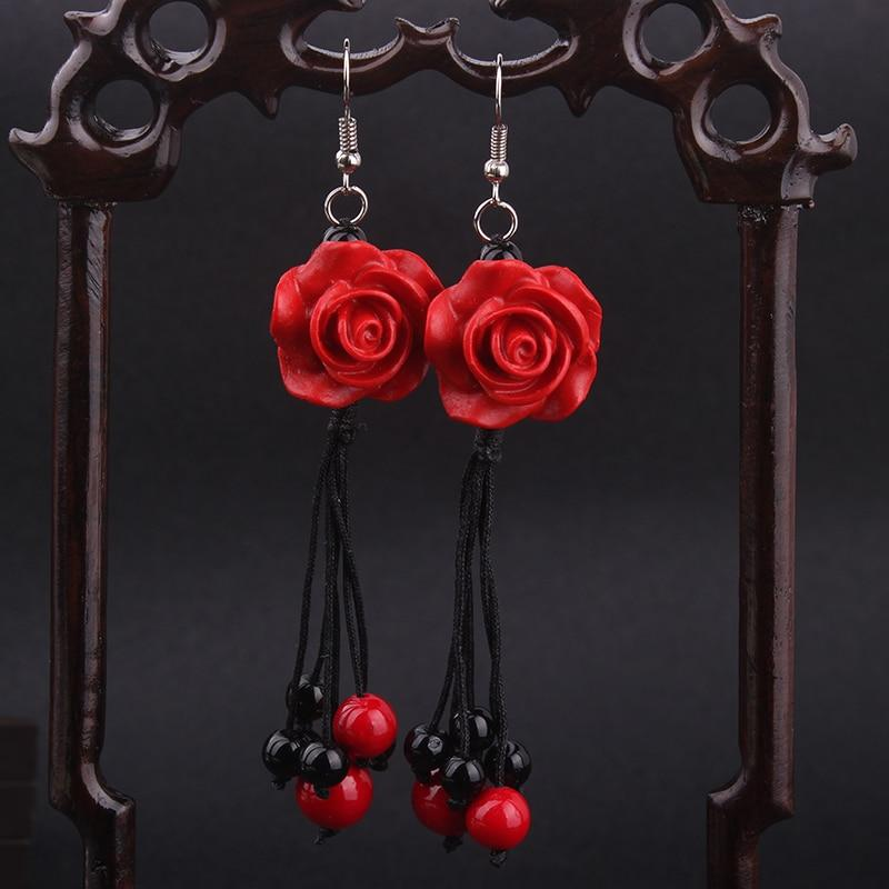 New Ethnic Lacquer Carving Rose Earrings