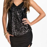 Sequined Backless Tank Top Black