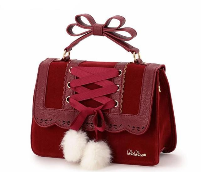 Cute Bow Handbag Deep Red