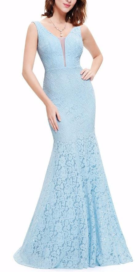 Mermaid Pattern Lace Dres Blue